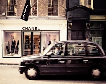 Chanel, chanel print, london photography, taxi cab, Stylish decor, chic,travel photography, girly bedroom