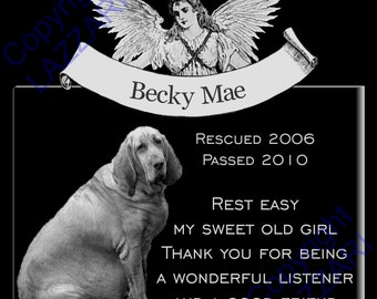 """Personalized Dog Cat Pet Memorial 12""""x12"""" Engraved Granite Grave Marker Plaque """"Becky"""""""