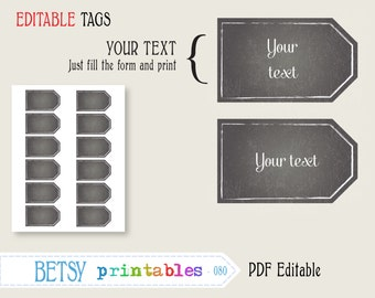 Chalkboard labels, editable labels or tags, chalkboard digital labels or tags, PDF labels or tags - INSTANT DOWNLOAD  080