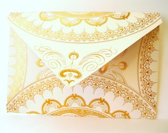 Ivory and gold foil 9x6 envelopes Qty 25 Handmade large A9 Wedding Invitation Envelopes wedding accessories