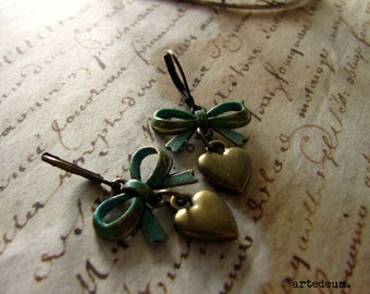 Hearts Earrings vintage dangles with bows Verdigris Short  Jewelry Blue Green christmas gift for her