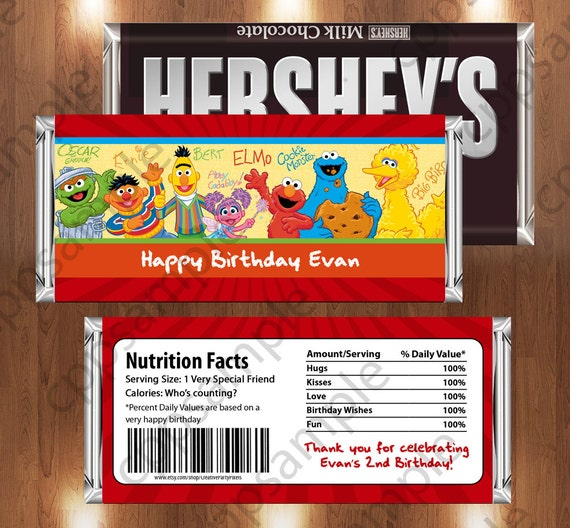Sesame Street Printable Candy Bar Wrappers - Sesame Street Birthday Party - Digital File