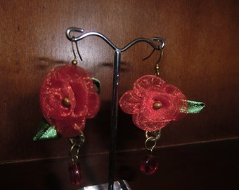 Dangle Earrings, red organza rose, and a red glass bead.