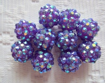 10  Plum Purple AB Sparkle Disco Ball Round Berry Acrylic Beads  12mm