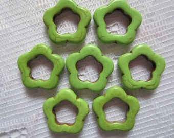 6  Lime Green 5 Petal Flower Howlite Turquoise Beads  25mm