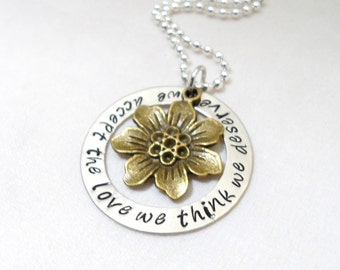 HAND STAMPED JEWELRY -  Perks of Being a Wallflower Quote, We accept the Love We Think We Deserve, Movie Quotes, Book Quotes