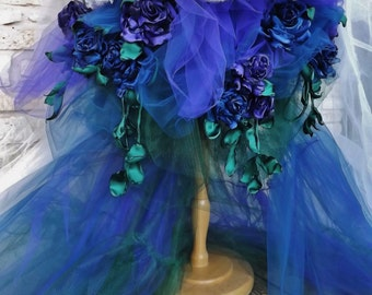 CUSTOM  Handmade Wedding Dress Mini Plus Tail Ivory  Blue Purple Green Tulle Roses Embroidered Appliques