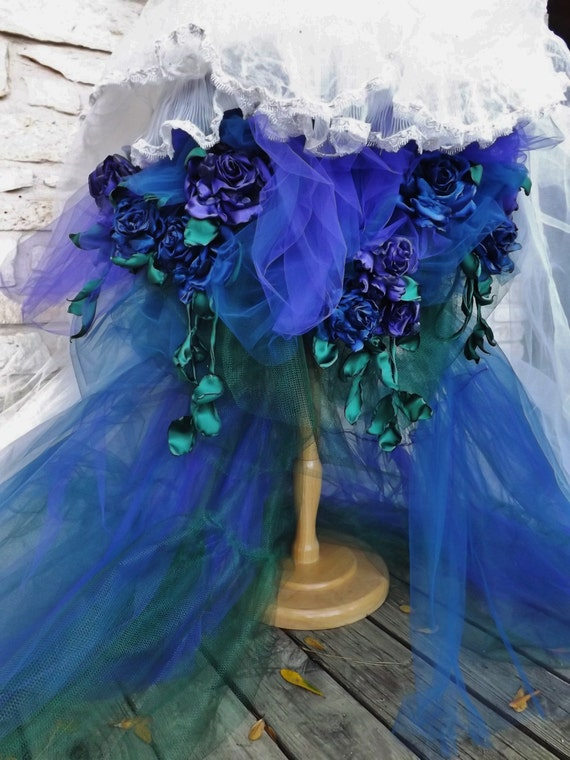 Custom handmade wedding dress mini plus tail ivory blue purple green