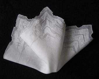 Georgeous Vintage Wedding Hankie - Pale Gray Embroidery on White Linen