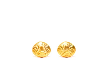 Gold shell earrings - stud earrings - shell earrings - cute clam shell earrings - shell earrings - clam studs