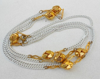 "Vintage chain necklace heart balls in gold metal 54"" long, Flapper style jewelry"