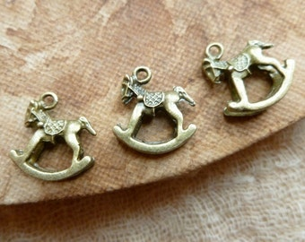 SALE 6x 3D Rocking Horse Charms, Antique Brass Pendants Necklace, Earrings C264