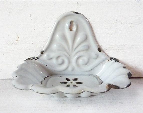 Vintage Enamel Soap Holder Victorian Soap Dish
