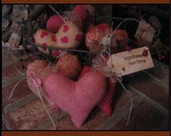 valentines hearts pink red hearts Primitive Cheesecloth accents tagged set of 6 bowl fillers cabin decor cottage chic