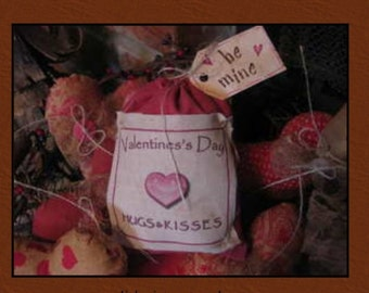 Primitive pink bag of valentines day hugs n kisses prim decor
