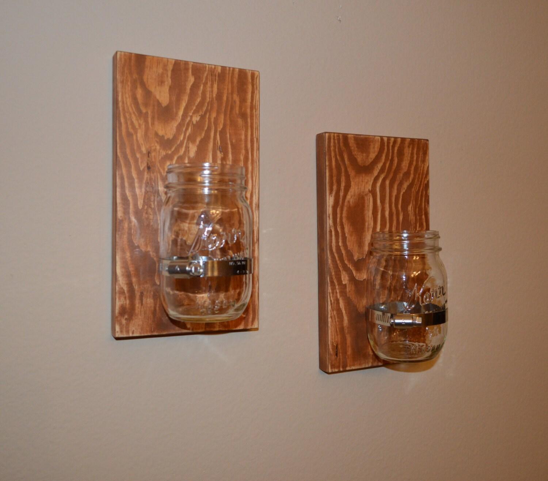 Set di 2 lampada da parete in legno artigianale shabby chic for Applique da parete legno