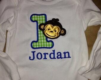 Baby boy 1st birthday onesie / shirt monogrammed name