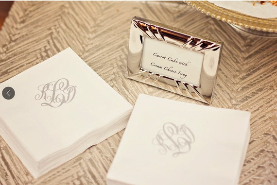 monogrammed    personalized    custom paper cocktail napkins