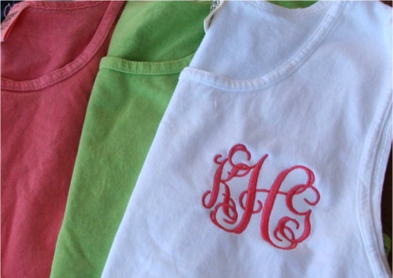 items similar to comfort colors brand monogrammed tank tops  greek embroidery available on etsy