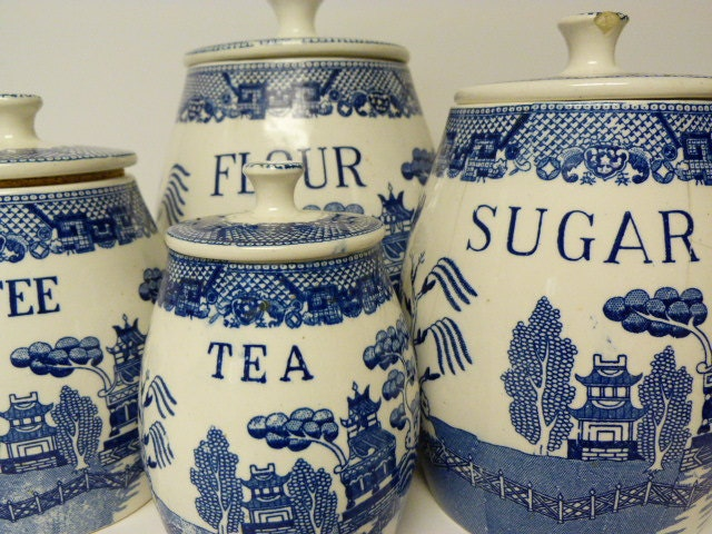 Vintage Four Piece Blue And White Canister Set Willow