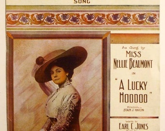 """Antique 1912 Sheet Music """"Everybody Two-Step""""  From The Theatre Production """"A Lucky HooDoo"""""""