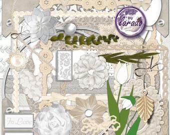 Simple White Wedding Digital Scrapbook Kit, Wedding Scrapbook Kit, Wedding Digital Clipart and White wedding Papers, Great for wedding books