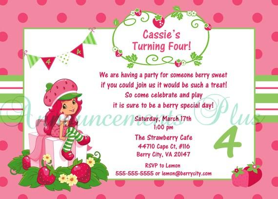 Items similar to 5x7 Strawberry Shortcake Birthday Invitation – Strawberry Shortcake Birthday Cards