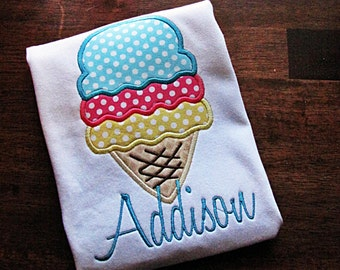 Ice Cream Summer Applique