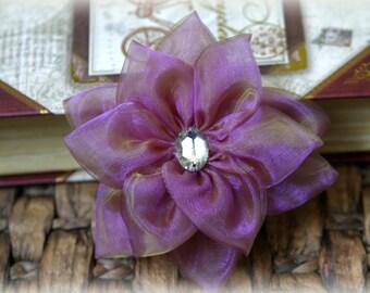 Rhinestone Centered Hyacinth Organza Bridal Crafting Fabric Flower Approx. 3.5 inches across FL-032
