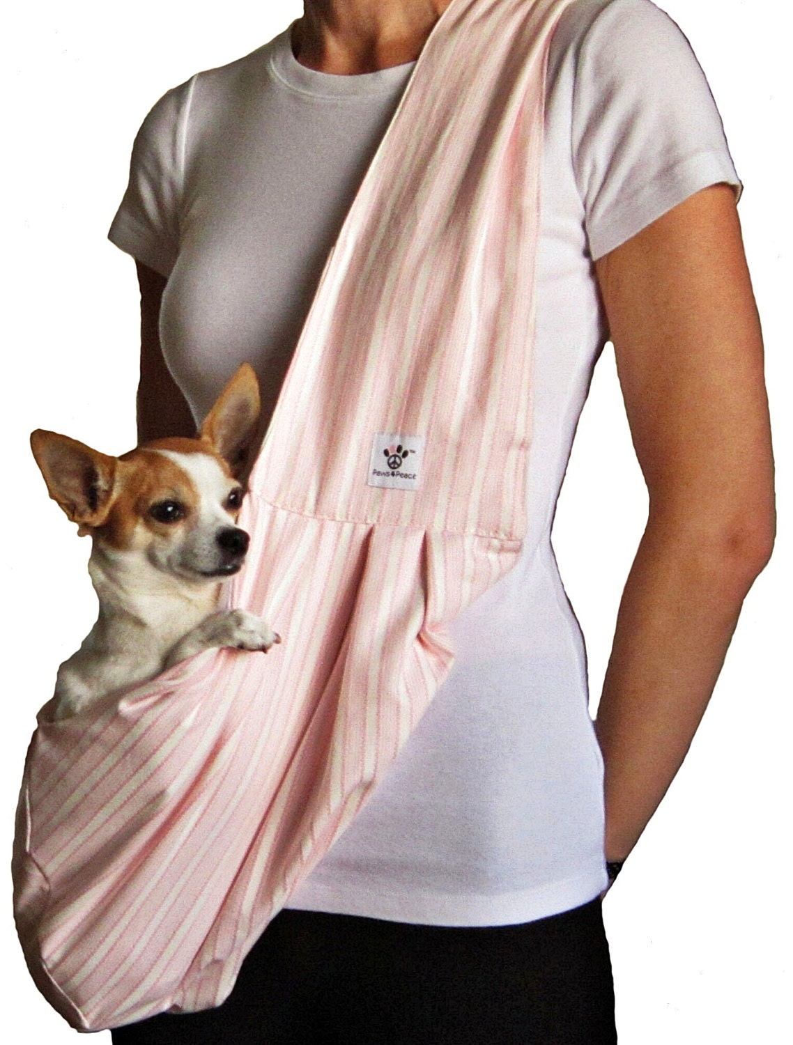 Dog sling pink and white striped by paws4peacellc on etsy - Pattern for dog carrier sling ...