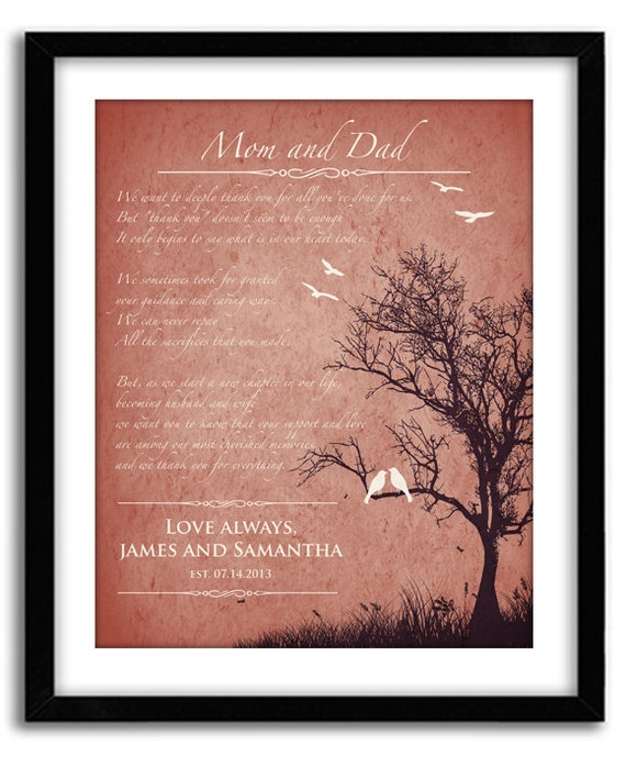 Wedding Gifts From Parents To Bride And Groom: Personalized Wedding Poem Parents Wedding Gift Thank You