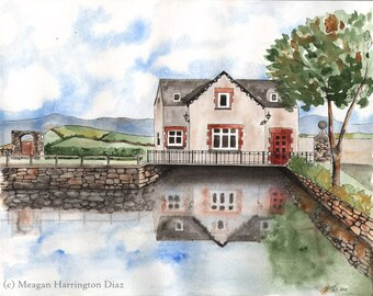 Ireland Watercolor - Bantry Boathouse II - Fine Art Watercolor Print - Bantry - County Cork Water Painting