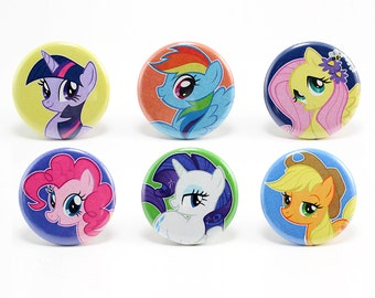 My Little Pony Set of 6 1.25'' Button Pins Friendship is Magic