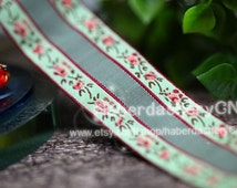 10 yards M19 woven jacquard ribbon with floral pattern