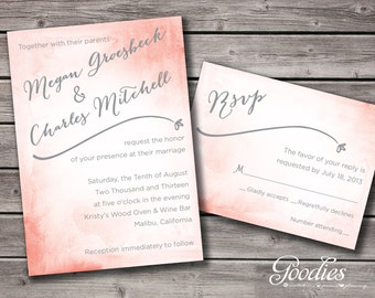 DIY Printable Water Color Wedding Invitation and RSVP