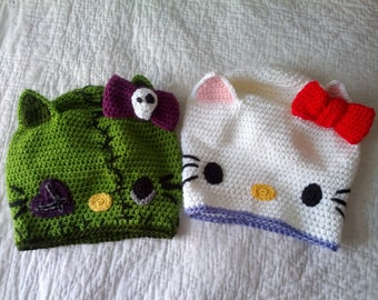 Crochet SLOUCHY Hello Kitty OR Zombie Hello Kitty Tam