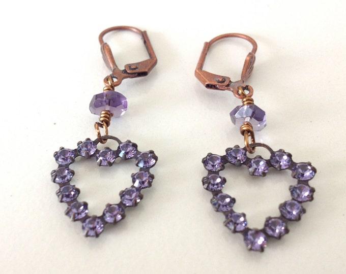 Vintage Swarovski Siam Tanzanite Lavender Rhinestone Heart Earrings, Valentines, Hearts, Galentines,