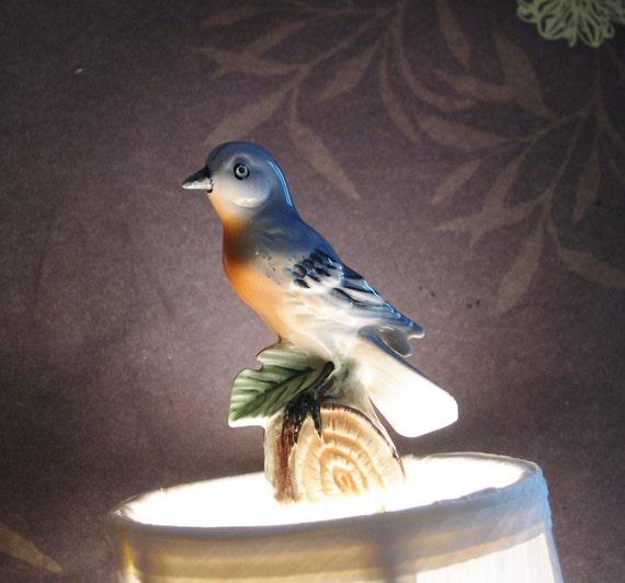 blue bird lighting finial lamp home decor handmade vintage by. Black Bedroom Furniture Sets. Home Design Ideas