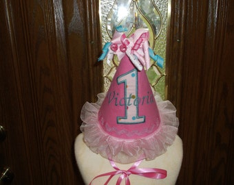Girls First Birthday Party Hat - Pink Birthday Hat -1st Birthday Party Hat  - Free Personalization