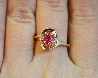 Deep in My Heart - Vintage Ruby & Diamond Ring - Size 6.5