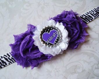"Kansas State University K-State ""Wildcats"" Zebra stripe Headband with Shabby Flowers and Wildcats Bottlecap"