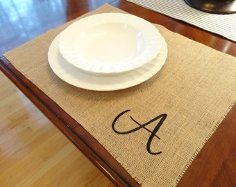 Initial EMBROIDERED monogrammed burlap placemats - set of 4
