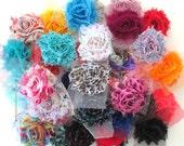 PETITE Shabby Grab Bag - Shabby Chiffon Flower Rosettes - Solids & Prints - You Choose Quantity