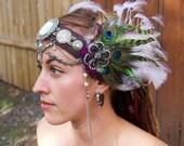 Green Cameo Feathered Headdress