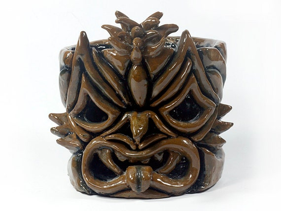 Ooak Hand Carved Tiki Candle Holder