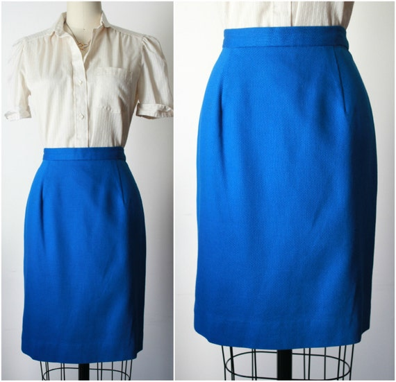 bright blue pencil wiggle skirt 80s