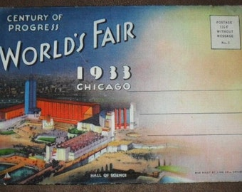 Art Deco 1933 Chicago World's Fair. Postcard Book. Century Of Progress