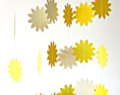 Sunshine yellow paper garland - Sun Flower, bunting paper garland, summer decoration, home decoration