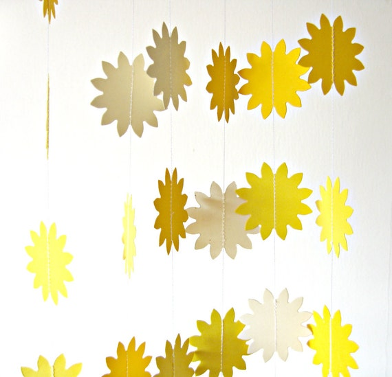 Sunshine yellow paper garland - Sun Flower, bunting paper garland, summer decoration, home decoration