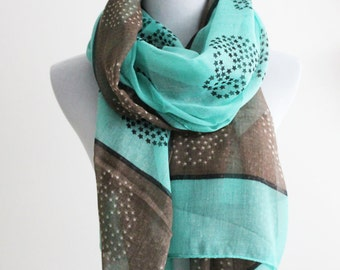 Aqua Blue Star Skull Scarf Taupe Skull Scarf with Aqua Blue Star